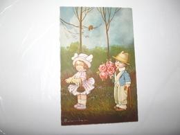 CPA Couple D'enfant Avec Fleur édition Italie M N°2110-3 Top Carte - Colombo, E.