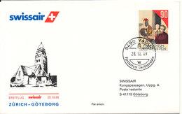 Liechtenstein Swissair First Flight Zurich - Goteburg 29-10-89 - Covers & Documents