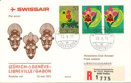 Liechtenstein Swissair First Flight (Zurich) Geneve - Libreville Gabon 13-5-1971 - Liechtenstein