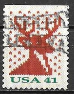 2007 Christmas, Reindeer, Imperf Top, Booklet, Used - United States