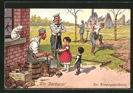 """Künstler-AK Arthur Thiele: """"Wir Barbaren. Die Kompagnieschuster"""", Kinder Mit Soldaten - Thiele, Arthur"""