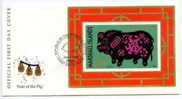 Marshall Islands 1995 Scott 589 S/S FDC New Year - Year Of The Pig - Marshall Islands