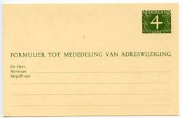 Netherlands 1950's-60's Mint 4c. Change Of Address Postal Card - Postal Stationery