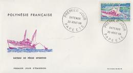Enveloppe  FDC  1er Jour  POLYNESIE   Bateau  De  Pêche  Sportive   1966 - FDC