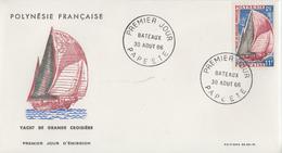 Enveloppe  FDC  1er Jour  POLYNESIE   Bateau  : Yacht  De  Grande  Croisiére   1966 - FDC