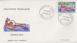 Enveloppe  FDC  1er Jour  POLYNESIE   Bateau  :   Pirogue  De  Lagon  1966 - FDC
