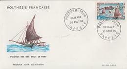 Enveloppe  FDC  1er Jour  POLYNESIE   Bateau  :  Pirogue  Des  Iles  Sous Le  Vent  1966 - FDC