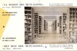 Buvard Vloeipapier - La Maison Des Mutualistes - Pharmacies - Bruxelles - Huis Der Mutualisten - 50 Apotheken - Buvards, Protège-cahiers Illustrés