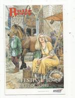 Cp , 5 E FESTIVAL BD , Bandes Déssinées , 2001 , BOURGES , BulleBerry, Partenariat SNCF,vierge - Bourses & Salons De Collections