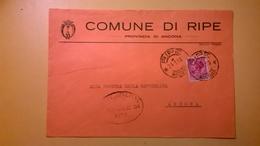 1959 BUSTA COMUNALE TEMATICA COMUNE DI RIPE BOLLI SERIE SIRACUSANA TIMBRO UFFICIALE COMUNE ELITTICO - 1946-60: Marcofilie