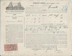 Bordeaux  Londres 1894 - Lignes De Steamers Bateaux à Vapeur Hirondelle  Avec Timbre Estampille De Controle - Transports