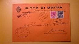 1960 BUSTA COMUNALE TEMATICA COMUNE DI OSTRA BOLLI SERIE SIRACUSANA TIMBRO UFFICIALE COMUNE ELITTICO MANOSCRITTO - 6. 1946-.. Repubblica
