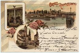 LITHO Gruss Aus RAPPERSWIL Polen-Denkmal Im Schlosshof Aufstieg Zum Schloss Gel. 1899 V. Feldbach N. Benken - SG St. Gall