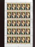 Belgie 1977 1862 Book Lam Gods Van Eyck Painting Ghent Agneau Mystique Full Sheet MNH Plaatnummer 4 - Feuilles Complètes