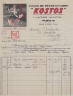 75 20 621 PARIS SEINE 1937 Engins De Peche KOSTOS Avenue Daumesnil USINE  A MOUY OISE 60 - France