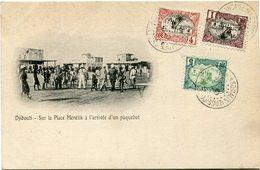 COTE FRANCAISE DES SOMALIS CARTE POSTALE  DE DJIBOUTI (IMPRIME) -SUR LA PLACE MENELIK A....... DEPART DJIBOUTI 30 DEC 05 - Côte Française Des Somalis (1894-1967)