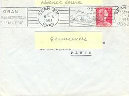 ALGERIE ORAN R.P. ORAN OM RBV 5-4-1956 Anomalie Bloc Dateur Gauche = Heure 15H30 Absente - Lettres & Documents