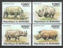 Burundi 2011 Mi 2110-2113 MNH RHINO - Rhinozerosse