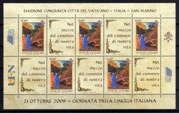 Vaticano 2009 Dante Alighieri Giornata Lingua Italiana Sheet MNH Joint Issue With Italia E San Marino - Emissioni Congiunte
