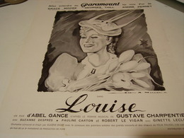 ANCIENNE PUBLICITE LOUISE  FILM PARAMOUNT  1939 - Cinema Advertisement