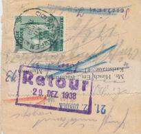 ZZ842 - Bande D' IMPRIME TP Expo Liège ANTWERPEN 1938 Vers MUNCHEN - Cachet Et Etiquette De RETOUR Unbekannt Inconnu - Belgien