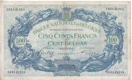 Billet 80b - 500 Francs Ou Cents Belgas - [ 2] 1831-... : Belgian Kingdom