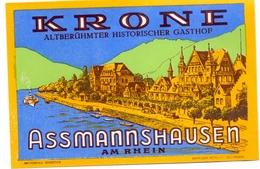 Etiket Etiquette - Hotel Gasthof  KRONE - Assmannshausen Am Rhein - Hotel Labels