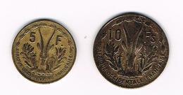 &  FRENCH WEST AFRICA  5 En 10  FRANCS  1956 - Central African Republic