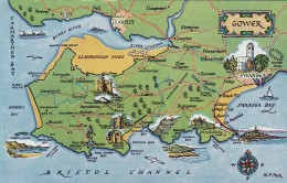 MAP CARD  - GOWER - Maps
