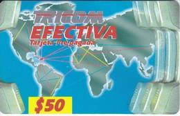 TARJETA DE REPUBLICA DOMINICANA DE TRICOM EFECTIVA $50 (MAPAMUNDI) - Dominicaanse Republiek