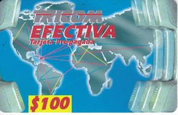 TARJETA DE REPUBLICA DOMINICANA DE TRICOM EFECTIVA $100 (MAPAMUNDI) - Dominicana