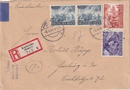 ALLEMAGNE 1944 LETTRE RECOMMANDEE  DE KARLSRUHE SANS CACHET ARRIVEE - Germany