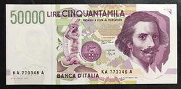50000 Lire BERNINI II° TIPO SERIE A 1992 Fds  LOTTO.330 - [ 2] 1946-… : Repubblica