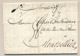 Nederland - 1779 - Complete Vouwbrief Met HOLLANDE Stempel Van Amsterdam Naar Montpellier - Nederland