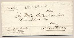 Nederland - 1814 - Complete Vouwbrief Van ROTTERDAM Naar Schiedam, Port Gewijzigd Op Achterzijde - Niederlande