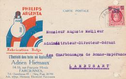 ZZ867 - Thème LAMPES ECLAIRAGE - Carte Illustrée PHILIPS Argenta C/o Hiernaux FARCIENNES - TP Houyoux 1928 - Timbres