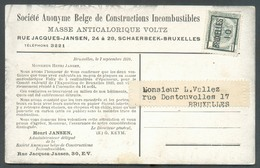 BELGIUM - S.A. De CONSTRUCTIONS INCOMBUSTIBLES Masse ANTICALORIQUE VOLTZ à CHAERBEEK Preo 1 Centime Surchargé BRUXELLES - Timbres