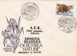 ENVIRONEMENT PROTECTION, NATURE, IRIS FLOWER, HEDGEHOG, OTTER, SPECIAL COVER, 1989, ROMANIA - Environment & Climate Protection