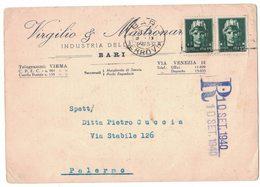 A100  Cartolina Pubblicitaria 1940,Virgilio & Mastronardi Bari, Per Palermo - 1900-44 Vittorio Emanuele III