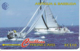 TARJETA DE ANTIGUA Y BARBUDA DE 10$ DE UNOS VELEROS 239CATA - Antigua And Barbuda
