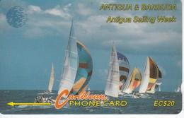 TARJETA DE ANTIGUA & BARBUDA DE UNOS VELEROS - 13CATB SOBRE FONDO BLANCO - Antigua And Barbuda