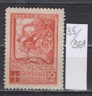 35K361 / 10 LIRE - FEBBRAIO 1947 PRO VENEZIA GIULIA E DALMAZIA , CINDERELLA LABEL REVENUE , Italia Italy Italie Italien - Cinderellas