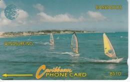 TARJETA DE BARBADOS DE $10 DE UNOS VELEROS SIN NUMERACION - FONDO GRIS (RARA) - Barbados