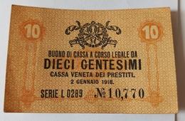 BUONO DI CASA A CORSO LEGALE DA 10 CENTESIMI, CA ASA VENETA DEI PRESTITI, ITALY 1916, BANKNOTE - [ 1] …-1946 : Kingdom