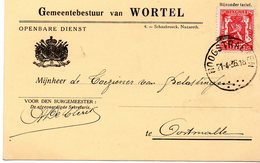 Gemeentebestuur Van Wortel / Openbare Dienst - Puntstempel Hoogstraten 1936 - Postdokumente