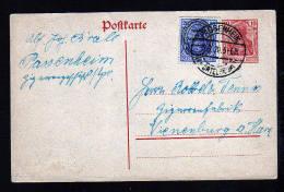 ALLENSTEIN - 10 Pf. DR-Ganzsache Mit 20 Pf. Überdruck Zufrankiert Ab PASSENHEIM 1920 Nach Vienenburg - Allemagne