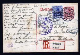 BELGIEN - 10 C. Ganzsache Als Einschreiben 1916 Ab Brüssel Nach Holland - Zensuren - Occupation 1914-18