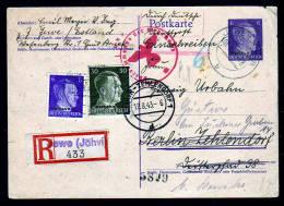OSTLAND - 6 Pf. Ganzsache Als Einschreiben Ab JEWE (Estland) Nach Berlin - Zensur - Occupation 1938-45