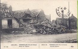 62 --    VERMELLES -- PLACE DE L'EGLISE-- 1919 -- CACHET DE LA POSTE DES ARMEES - France