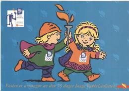 NORWAY Olympic Torchrelay Postcard For The Arriving Of The Torch In Hamar On 10-2-1994 - Winter 1994: Lillehammer